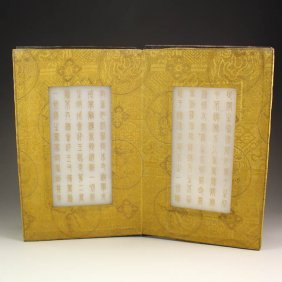 Vintage Chinese White Jade Buddhism Sutras Book
