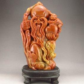 Chinese Shoushan Stone Statue - Longevity Taoism Deity