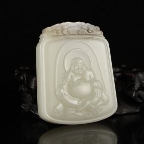 Chinese Natural Hetian Jade Pendant - Laughing Buddha