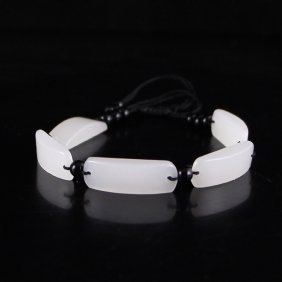 Chinese Natural White Hetian Jade Bracelet