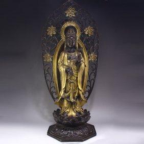 Chinese Bronze Gold-plated Sakyamuni Buddha Statue