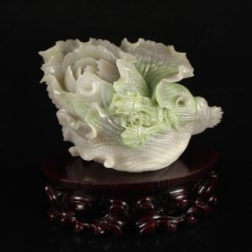Chinese Natural Hetian Jade Fortune Cabbage Statue
