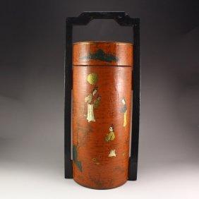Vintage Chinese Hard Wood Lacquerware Food Box