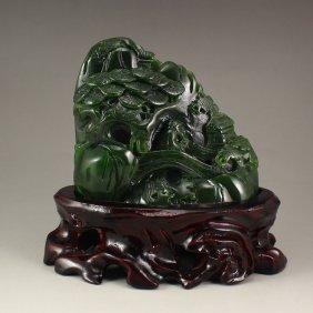 Chinese Green Hetian Jade Statue - Sage & Pine Tree