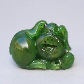 Chinese Natural Green Hetian Jade Pendant - Fortune Pig
