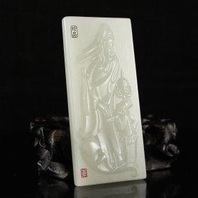 Chinese Natural Hetian Jade Pendant - Kwan-yin