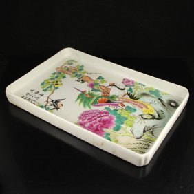Hand-painted Chinese Famille Rose Porcelain Tea Plate