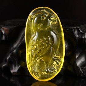 6 G Superb Natural Golden Baltic Amber Pendant - Parrot