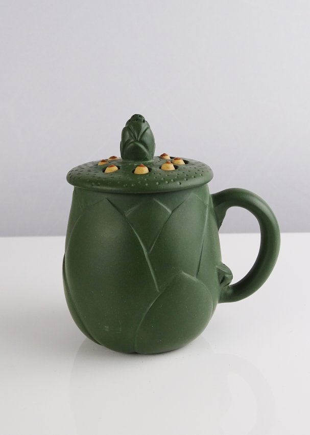 A set of frog and lotus green redware tea pot lot 78 Green tea pot set