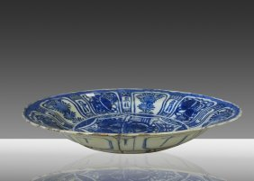 Ming Dynasty Blue And White Glazed Kraak Porcelain Plat
