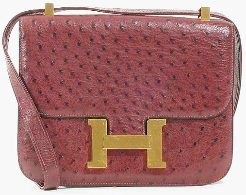 1253: Hermes Burgundy Ostrich Constance Bag : Lot 1253