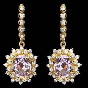 14k Gold 8.75ct Kunzite 1.75ct Diamond Earrings