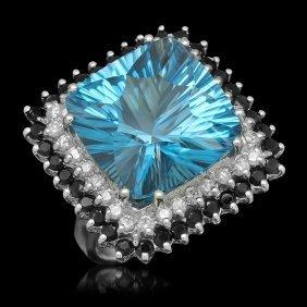 14k Gold 17.85ct Topaz 1.75ct Sapphire 0.75ct Diamond