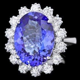 14k Gold 8.00ct Tanzanite 1.90ct Diamond Ring