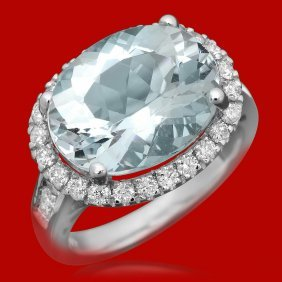 14k Gold 7.34ct Aquamarine 0.85ct Diamond Ring