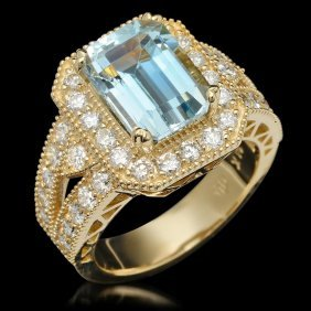14k Gold 3.85ct Aquamarine & 1.46ct Diamond Ring