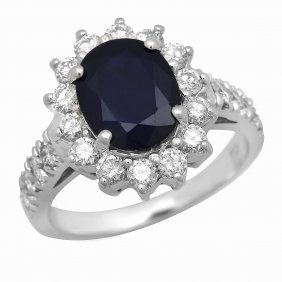 14k Gold 2.47ct Sapphire 1.12ct Diamond Ring