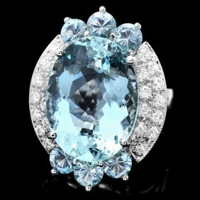 14k Gold 11.85ct Aquamarine .75ct Diamond Ring
