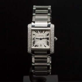 Cartier Large Tank Francaise Stainless Steel Custom 1ct