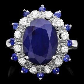 14k Gold 5.35ct Sapphire 0.35ct Diamond Ring