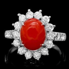 14k White Gold 2.50ct Coral 1.10ct Diamond Ring