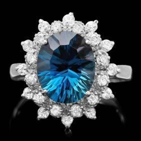 14k White Gold 4.20ct Topaz 0.75ct Diamond Ring