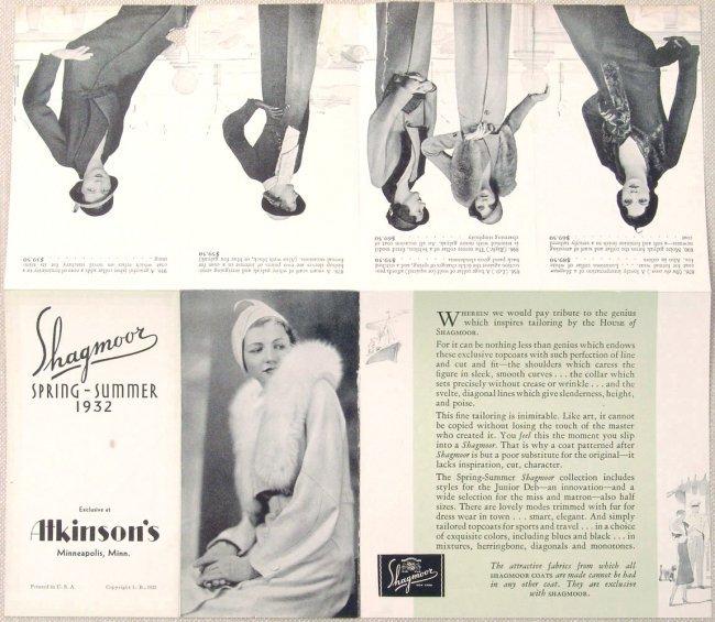 1932 fashion brochure shagmoor tailored coats art deco. Black Bedroom Furniture Sets. Home Design Ideas