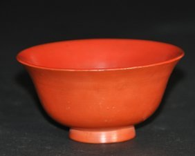 A 19th Century Japanese/chinese Red Lacquer Bowl