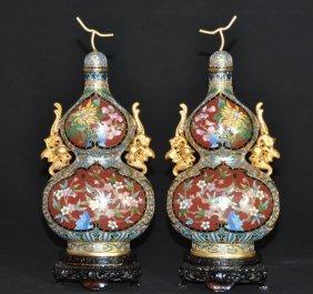 A Pair Of Antique Cloisonna Enamel Double-grourd Vase