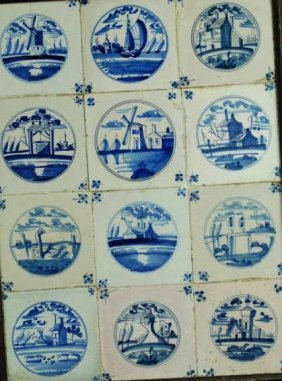 A English Delftware Tiles, Circa 1740-1780