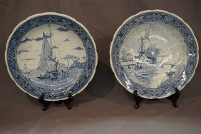 A Pair. Boch Delft Holland Blue And White Chargers