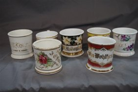 Seven (7) Barber Shop Shaving Mugs