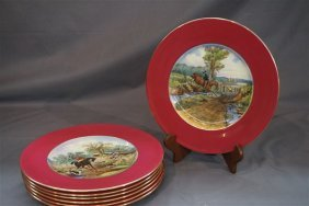 Seven (7) Copeland Spode China Fox Hunt Plates