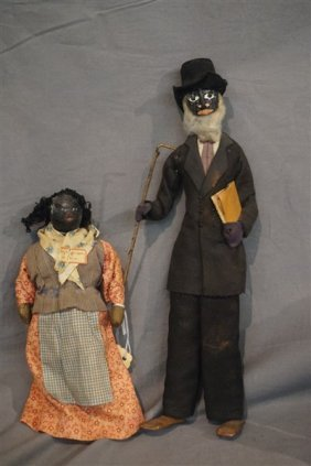 Two (2) African American Folk Art Nut Dolls