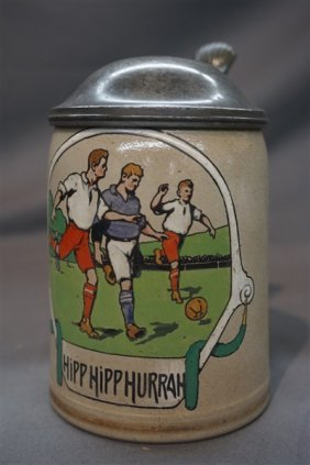 Football Soccer German Sports Stein C.1900-1910.