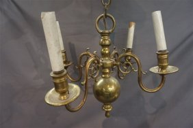 New England Solid Brass Four (4) Arm Chandelier