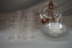 Hawkes Old Fashioned Glasses And Plates