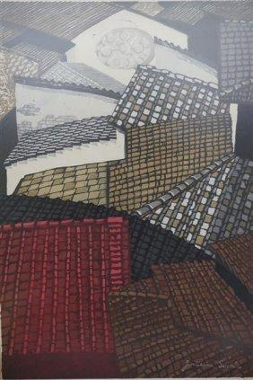 Junicero Sekino (japanese) Color Woodblock C.1959