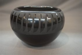 Helen Gutierrez San Ildefonso Black Pottery Bowl