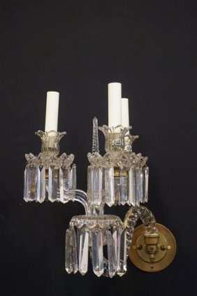 French Crystal Baccarat Attrib. Wall Sconce