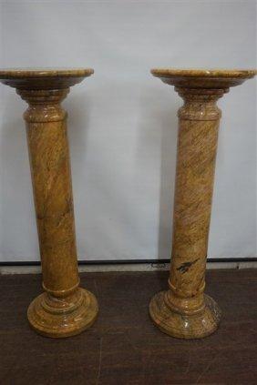 A Pair, Siena Marble Pedestals