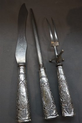 English Carving Set, Atkinson Bros. Sterling Handles