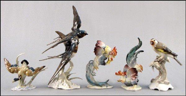 882048 group of five hutschenreuther porcelain birds lot 882048. Black Bedroom Furniture Sets. Home Design Ideas
