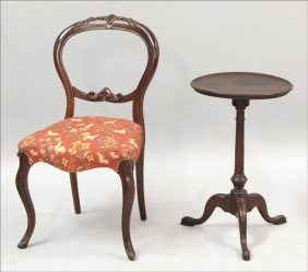 VICTORIAN STYLE BALLOON-BACK SIDE CHAIR.