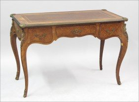 FRENCH PARQUETRY MOUNTED DESK.