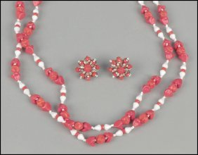 MIRIAM HASKELL RED AND WHITE BEAD DEMI-PAIRE.
