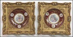 PAIR OF FRAMED GERMAN MITTERTEICH PORCELAIN PL