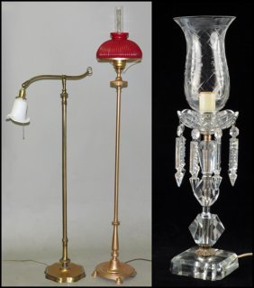 CUT GLASS TABLE LAMP.