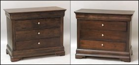 PAIR OF MOUNT AIRY FOUR DRAWER CHESTS.