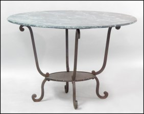MARBLE TOP IRON TABLE.